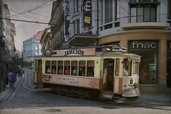 something sad (silviaON) Tags: outdoor city porto potugal tram textured flypaper caminhoportugues