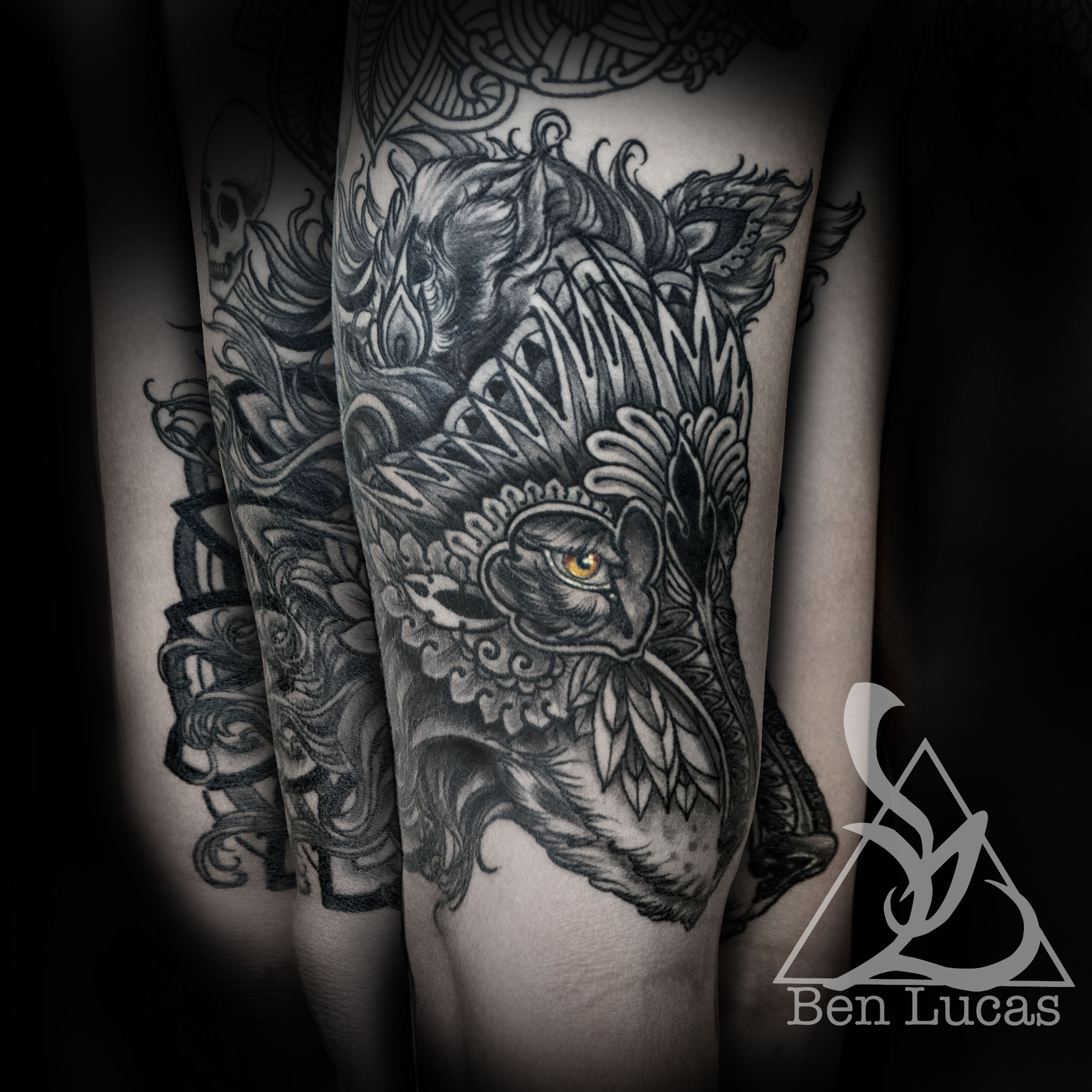 2b97460f8 ... carlos black and grey tribal wolf with brown eyeshalf sleeve tattoo by Ben  Lucas at Eye ...
