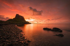 Lindisfarne Gold (Tracey Whitefoot) Tags: tracey whitefoot 2016 summer northumberland holy island lindisfarne castle dawn glow sunrise gold golden beach morning