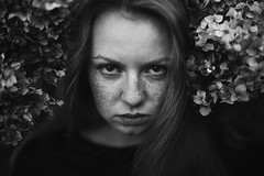 Withered (milanvopalensky) Tags: girl woman female czech canon 5d mark ii 50mm 12 portrait bn black white dark darkness ginger redhead face flower flowers autumn fall hair eyes surreal freckles withered
