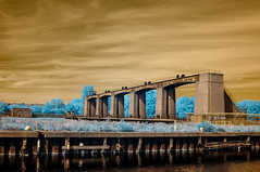 Holme pier point national water sports centre in Nottingham (marklinton94) Tags: landscape cloud infrared sky water gate canal nikon nottingham d70 river trent