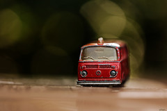 Get the fire brigade... (eleni m) Tags: car toy autootje speelgoed vw firebrigade brandweer majorette bus vintage dof red outdoor bokeh metal
