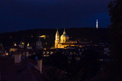 Pregue at Night (romanboed) Tags: night available light lit rozhledna observation tower spires mala strana lesser quarter petrin hill st nicholas dome sv mikulas church leica m 240 summilux 50 czech europe cesko czechia prague praha prag praag praga architecture travel tourism