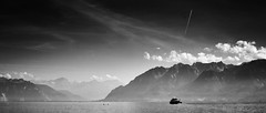 Lake Geneva (elgunto) Tags: switzerland lake geneva laclman swiss mountains boat sky clouds landscape blackwhite bw sonya7 manuallense