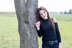 Nina (Denis Bence) Tags: outdoor attractive beautiful beauty belt black brown brunette cute environment eyes face female girl goodlooking grass green hair human jeans lips model nature nice people perfect person portrait skin smile smiling tree woman
