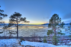 Sunset over Altafjord (Daniel J. Mueller) Tags: trees sunset snow ice water norway fjord alta hdr 7xp altafjord d3s