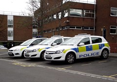 Police cars. (steven.barker57) Tags: uk blue england ford focus cops cleveland north police led east cop vehicle law enforcement emergency stockton astra vauxhall tees 999 constabulary nx60djk nx60dju nx09bmo