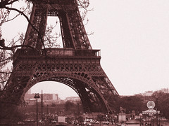 Eiffel Tower (nwsticks) Tags: travel blackandwhite paris france tower history architecture europe eiffeltower eiffel latoureiffel lithprint nikoncoolpix ladamedefer