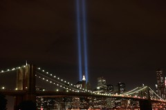 Soaring Lights of Liberty over the Brooklyn Bridge (chantsign) Tags: nyc night 911 brooklynbridge afterdark tributelights