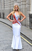 Current Miss England Alize Lily Mounter joins previous winners, Lady Angie Sinclair and Laura Coleman, to promote the Miss England dress recycled charity auction, supporting underprivileged children worldwide held at Harry's Bar London, England