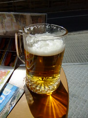 Beer on a Sunny Barca day (Martin D Stitchener PiccAddo Photography) Tags: beer glass photography photo flickr half refraction lager twitter martinstitchener dxhawk