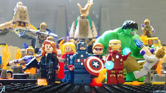The Avengers Earth's Mightiest  Heroes (chrisofpie) Tags: city bridge chris art wall project pie toy toys outdoors fire lego god taxi explosion battle super ironman aliens adventure master captain legos hero heat loki superhero agent hawkeye heroes wars blackwidow minifig hulk thor marvel today captainamerica avengers tonystark minifigure avenger theavengers minifigures brucebanner steverogers suitup clintbarton chitauri natasharomanoff legohero nataliaromanova legomarvel chrisofpie fightasonetherewasanideatobringtogetheragroupofremarkablepeoplesowhenweneededthemtheycouldfightthebattlesthatwenevercould fightasone