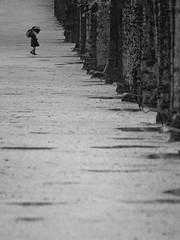 Fillette du jardin des plantes (Orioto) Tags: blackandwhite abstract rain umbrella kid alone orioto