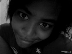 Smiling PRETTY (blahblahcredits) Tags: blackandwhite 3 cute love beautiful smile photo cool snapshot adorable messyhair blackhair prettygirl stylish beautymark darkeyes highcheekbones thickbrows