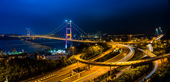 Tsing Ma Bridge (dawvon) Tags: world life china city longexposure travel bridge sunset urban hk night dark ed hongkong twilight nikon asia cityscape nightshot traffic zoom harbour photojournalism gear wideangle equipment highways metropolis nikkor  suspensionbridge vr afs newterritories lenses zoomlens mawan tsingmabridge f4g  photographyequipment 1635mm tsingyi cablestayedbridge  fmount vibrationreduction vr2 tingkaubridge  vrii photographygear wideanglezoom f4f4 nanocrystalcoat afsnikkor1635mmf4gedvr 1635mmf4gvr