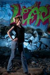 Under Bridge 4 (dualdflipflop) Tags: blue portrait urban woman girl female creek pose sketchy hair graffiti model nikon minolta decay flash tunnel 1870mmf3545g jeans short blonde speedlight gel 1870mm strobe mixedlighting cto d300 nikon1870mm sb25 sb20 nikonspeedlight strobist nikonsb25 minolta4000af nikond300 nikonsb20 minolta5600hs