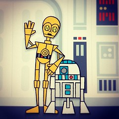C3PO R2D2 on the Blockade Runner (invisibleElement) Tags: illustration star sketch starwars r2d2 characters wars vector c3po anewhope episode4 invisibleelement