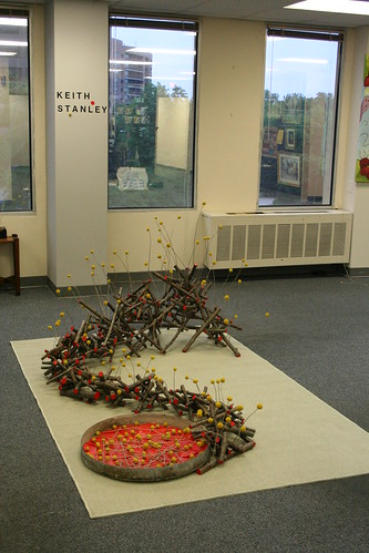 Artomatic installation-cherry branches and craspedia