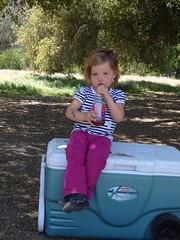 sara sitting on a cooler (maureenld) Tags: camping friends fun 40th bash sara may db annual pinnacles 2012 pinnaclesnationalmonument bethereorbesquare desertbash btobs