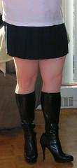 Schoolgirl mini skirt with black boots (high heel <3) Tags: black sexy stockings boot high kilt boots platform mini skirt crossdressing pump heels stiletto knee schoolgirl crossdresser pleated