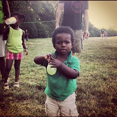Jeremy at #simplechurch picnic with water balloon!