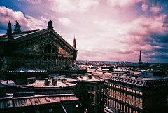 Rooftop view of Paris (Lomo_HH) Tags: paris film rooftop lomo lca xpro lomography crossprocessed opera purple eiffeltower lomolca 64 tungsten analogue opra tourdeiffel