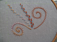 Week 3, 7 & 26 (fatquarter (Annet)) Tags: embroidery featherstitch palestrinastitch detachedchainstitch fsfeature tast2012 greylinensampler