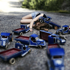 Hit & Run (Sophia Alexis) Tags: girls self portrait 365 blue toy cars chaos norway canon eos 7d sigma 50mm july 2012 red green colors stones