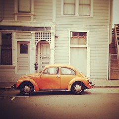 Orange Bug (catlucia) Tags: orange vw volkswagen square squareformat rise vwbug sfist iphone volkswagenbeetle orangebug iphoneography tiltshiftgenerator instagramapp uploaded:by=instagram iphone4s