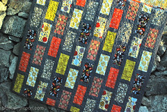 Bricks and stones (blueberrymoon) Tags: quilt stones sewing bricks quilting highsociety brickpattern konacotton bricksandstones konacoal anthologyfabric