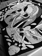 WIP Marceline & Hambo (Anita Mejia) Tags: white black art texture illustration pen ink paper strawberry drawing vampire traditional cartoon marceline hambo adventuretime chocolatita anitamejia
