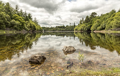 Trenchford Reservoir (jebob) Tags: summer england sky green water clouds reflections fishing stones deep pebbles foliage devon tress banks