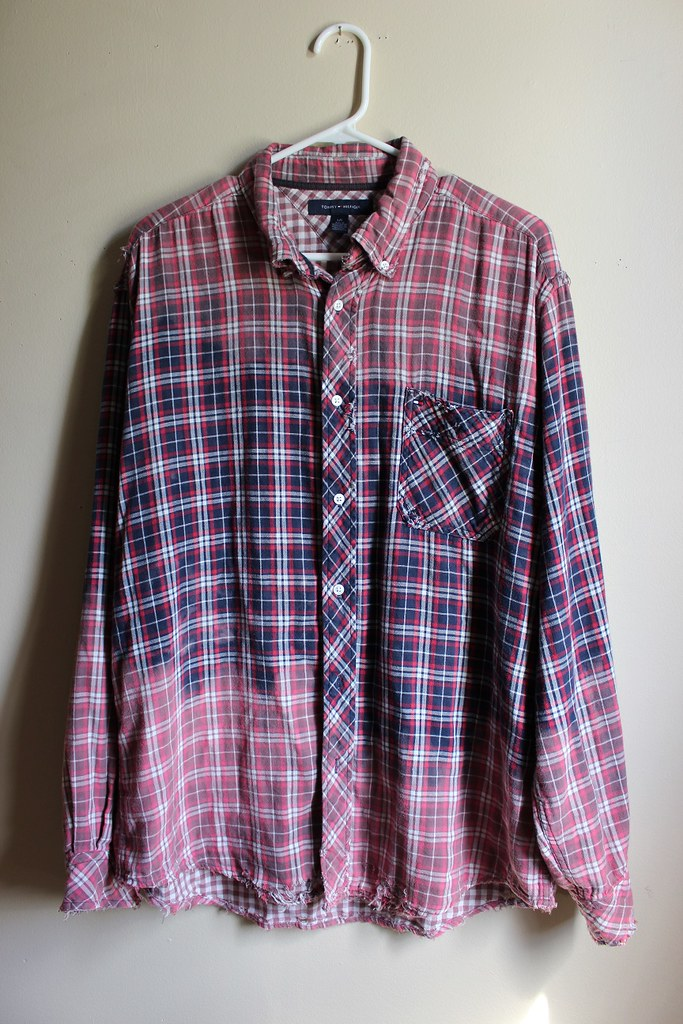 5ef88ff13966 Ombre Bleached and Distressed Vintage 90 s Red and Blue Plaid Shirt  (shopthegasstation) Tags
