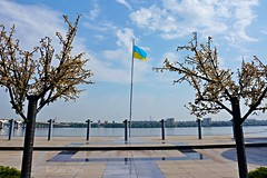 23 and 24 August, the Day of the National Flag and Independence Day of Ukraine. (Svitlana Clover) Tags: flag independence sky blue white gray clouds trees celebration dnipro ukraine sonynex6 europe