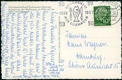 Archiv G872 Cuxhaven-Duhnen (back), Poststempel 16. Juli 1958 (Hans-Michael Tappen) Tags: archivhansmichaeltappen ansichtkarte postkarte postcard cuxhaven poststempel stamps briefmarke gesundheit werbung promotion 1958 handschrift text fisch 1950er 1950s