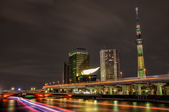 Tokyo Skytree lit up for Rio Olympics! (703) Tags: azumabridge brasil da18135mm japan pentaxk5 rioolympics rioolympics2016 sumidariver tokyo tokyoskytree cityscape night nightscape nightscene nightview