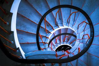 blue spiral down