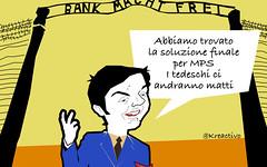 MPS una storia infinita a cui Renzi dice di aver trovato la soluzione... finale (SatiraItalia) Tags: satira mps renzi
