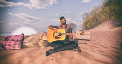 Sea of Love (The Gentleman Dystopic) Tags: secondlife beach summer music guitar sand scenic sky water seascape photograph vintage love romantic song male beard glasses deadwool pillow log