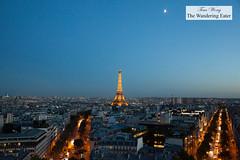 Eiffel Tower and the moon; taken from Arc de Triomphe (thewanderingeater) Tags: paris france arcdetriomphe landmark eiffeltower
