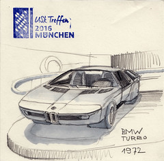 BMW Turbo 1972 (Namtra) Tags: arnohartmann uskgermany urbansketchers mnchen urbansketch uskdeutschlandtreffenmnchen2016 marker copicmarkers copicmarker bleistiftzeichnung bleistift bleistiftundmarker bmwmuseum bmw bmwturbo classiccars classiccar oldtimer prototype prototyp versuchsfahrzeug