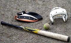 Pespallo equipment (Santeri Viinamaki) Tags: pespalloequipment pespallo finnishbaseball bat ball helmet glove maila pallo rpyl boboll