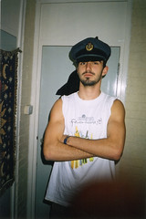 RAF (Gary Kinsman) Tags: hampsteadstudentcampus hampstead childshill nw3 kidderporeavenue london film kingscollegelondon kcl hallsofresidence studentcampus students university fun youth young 2001 ellison flash fancydress pose posed military raf wwii bedroom