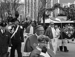 D7K_1667_epgs (Eric.Parker) Tags: easter 2016 goodfriday procession littleitaly stfrancis assisi church stfrancisofassisi college street jesus christ stationsofthecross christian christianity brassband toronto bw palm