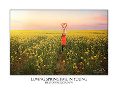 Woman in Canola Fields in Young Country NSW (sugarbellaleah) Tags: young countrynsw canola farm farming agriculture field yellow flowers spring season canolaoil crop hilltopsregion southwestslopes plants flora farmland rural outback girl woman heart love loveheart people person