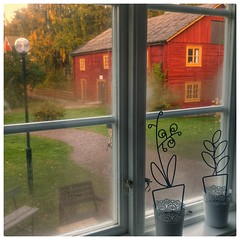 INSTAGRAM 365 Day 262: Morning away from home (tomas_nilsson) Tags: instagram365 sweden korr linneryd tingsryd oldhouse colorful red green septemberscene morningscene morninglight window morningdew barn roadtrip hdr cellphonephotography lg g4 snapseed postprocessing