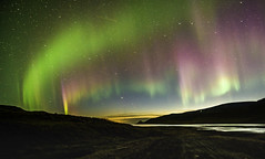 Colourful aurora sunset (oldkentucky85) Tags: iceland island westfjords pingeyri ingeyri thingeyri fjord sea ocean estuary river stream water northern lights borealis mountain mountains holiday vacation trip tour beach remote mountainscape isolated rural light show dance dancing dazzle amazing spectacular bucket list manfrotto tripod befee nikon d750 time timelapse shutter tamron 1530mm f28 usd wide superwide landscape image photo photography seascape nightscape aurorascape astro astrophotography stars milkyway blue golden hour fun happy green pink digital sunset scenic friends