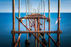 Iron and salty water (Zimeoni) Tags: mediterranean sea ocean water iron pier landscape blue long exposure