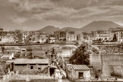 In the shadow of Vesuvius (robin denton) Tags: herculaneum romanempire romanarchitecture roman oldtown town townscape volcano urbanlandscape italia italy campania scavi excavations monochrome sepia ercolano photomatix hdr history historic archaeology