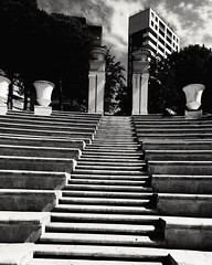 Stairs (chel.h91) Tags: stairs trees plants black white sky clouds spain benidorm